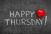 pic of thursday  - happy Thursday phrase handwritten on blackboard with heart symbol instead of O - JPG