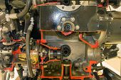stock photo of exposition  - detailed exposition of the old piston aircraft engine - JPG