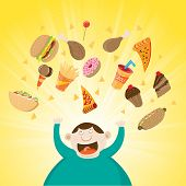 stock photo of obesity  - Vector illustration of a happy obese man with various fast foods above him - JPG