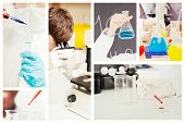 stock photo of scientist  - Portrait of a protected scientist dropping a liquid in a test tube against scientist looking in a microscope - JPG