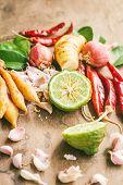 image of thai food  - Ingredients of Thai spicy food on wooden table - JPG