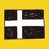 stock photo of sweden flag  - Sweden Flag Doodle - JPG