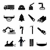 stock photo of carpenter  - Woodworking industry icons black set with carpenter tree saw isolated vector illustration - JPG
