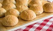 stock photo of bread rolls  - Freshly baked whole wheat rye bread rolls - JPG