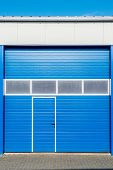 picture of roller shutter door  - blue shutter door of new business unit - JPG