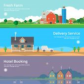 stock photo of farm  - Colorful vector flat banner set - JPG