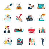 stock photo of debate  - Elections with voting debates and agitation icons set flat isolated vector illustration - JPG