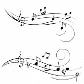 image of music note  - Music notes on a stave for sheet music - JPG