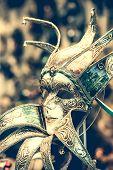 foto of venetian carnival  - amazing carnival masks for traditional Venetian carnival fest - JPG