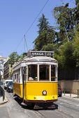 stock photo of tram  - The famous yellow tram 28 in Lisbon - JPG