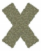 picture of microprocessor  - letter X made of made of huge amount of old and dirty microprocessors - JPG