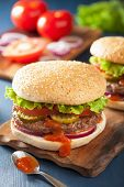 picture of beef-burger  - burger with beef patty lettuce onion tomato ketchup - JPG