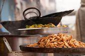 foto of indian food  - Indian street food on the counter of market in Varanasi - JPG