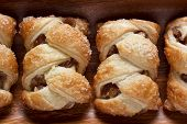 pic of phyllo dough  - Apple strudel on a wooden plate - JPG