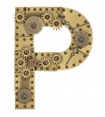 image of letter p  - Steampunk mechanical metal alphabet letter P - JPG