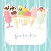 stock photo of popsicle  - Ice cream and popsicle colorful summer time background - JPG