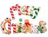 foto of merry christmas  - yummy decorated christmas cookies spell out merry christmas - JPG