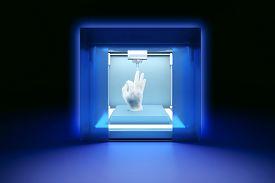 stock photo of 3d  - 3D rendered illustration of electronic three dimensional plastic printer 3D printer 3D printing - JPG