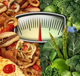 picture of half  - Dieting choice weight scale with unhealthy junk food on one side and healthy fruit and vegetables on the other half as a fitness and nutrition eating decision symbol - JPG