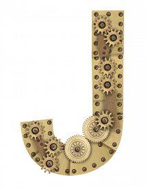 stock photo of letter j  - Steampunk mechanical metal alphabet letter J - JPG