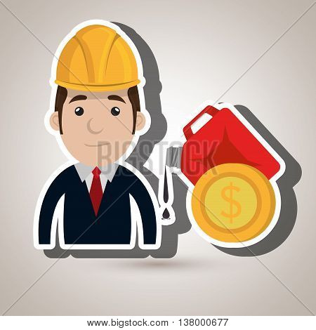 man and oil industry isolated icon design, vector illustration graphic