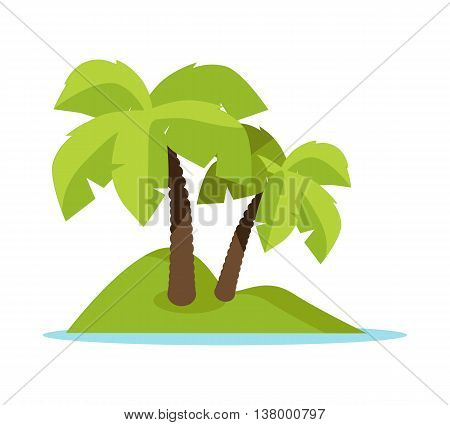 Topic island vector illustration. Flat design. Summer vacation in tropics concept. Leisure on seacoast picture for ad, web design. Tiny deserted green island in ocean with palm trees. On white.