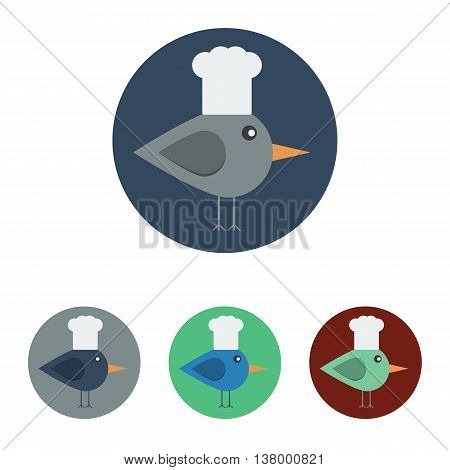 Vector set of icons with bird with chef hat. Icons are in modern flat style in various colors without long shadows. Icons on a circular background for various use.