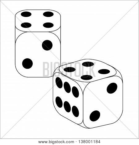Black and White Dice With Four Roll