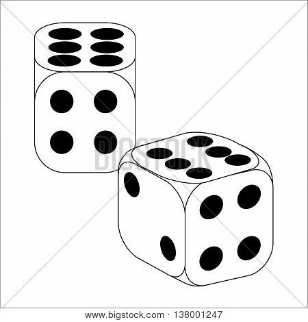 Black and White Dice With Six Roll
