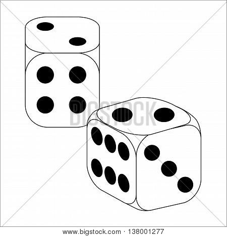 Black and White Dice with two roll