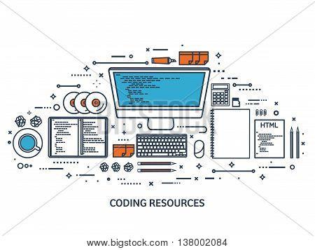 Programming, coding. Flat computing background. Code, hardware, software. Web development. Search engine optimization. Innovation, technologies. Mobile app. Vector illustration. SEO.Line art.