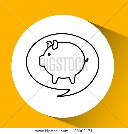 saving money desing in a fat pig, vector