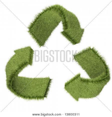 Símbolo de reciclagem 3D na textura de grama? isolado sobre um fundo branco