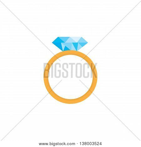 Golden ring with a large jewel. Newlyweds symbol. Vector illustration.