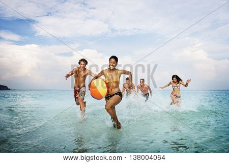 Beach Ball Friends Cheerful Playful Leisure Sea Concept