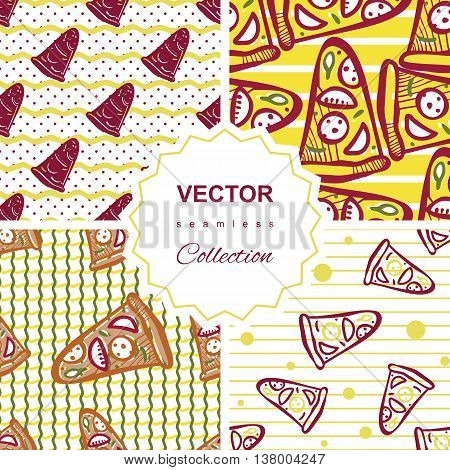 Seamless Pattern Set With Pizza