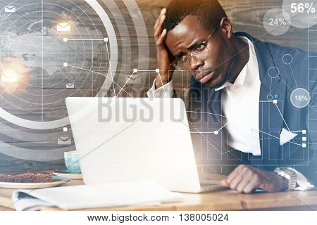 Overwork Concept. Visual Effects. Young African Businessman In Formal Wear With Sad And Tired Look C