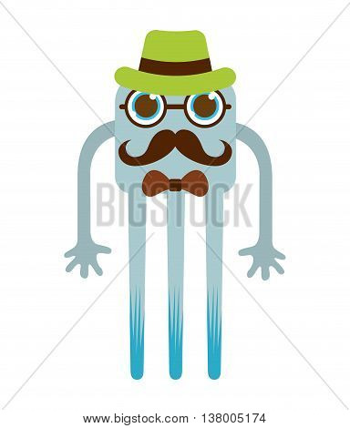 monster cartoon hipster style isolated icon design, vector illustration  graphic