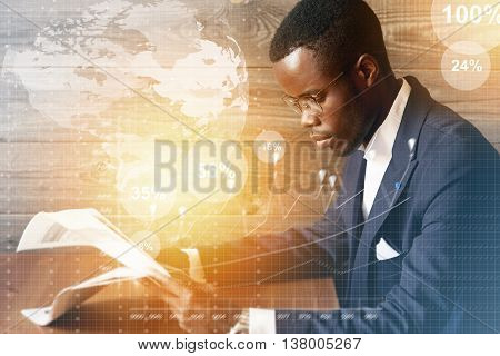 Worldwide Connection Interface. Double Exposure Of Serious Successful African American Financier In