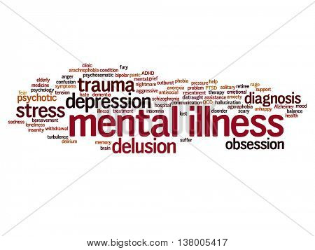 Concept conceptual mental illness disorder management or therapy abstract word cloud isolated on background