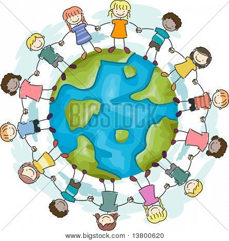 Illustration of Kids Joining Hands to Protect the Earth