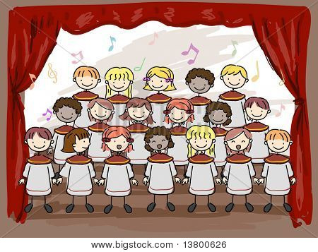 Illustration of a Children's Choir Performing on Stage
