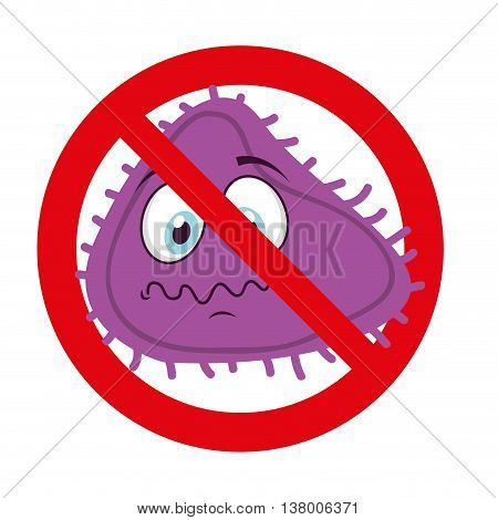 bacterium character denied isolated icon design, vector illustration  graphic