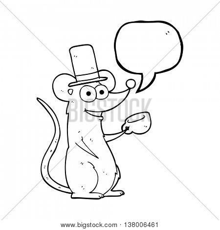 freehand drawn speech bubble cartoon mouse with teacup