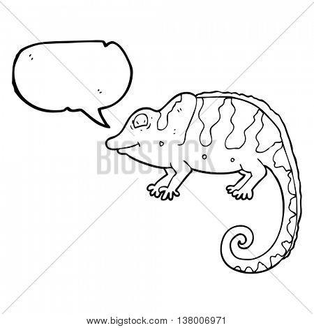 freehand drawn speech bubble cartoon chameleon
