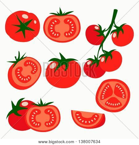 Collection of fresh red tomatoes vector illustrations. Half a tomato a slice of tomato cherry tomato.