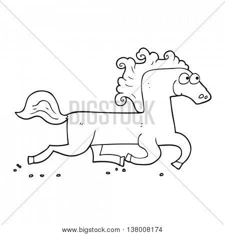freehand drawn black and white cartoon running horse