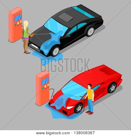 Isometric Hand Car Wash. Driver Washing Car. Vector illustration
