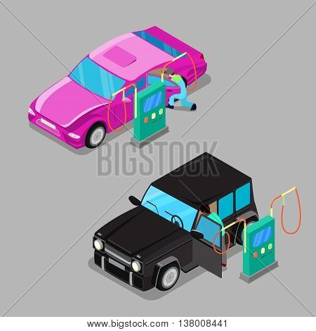 Isometric Car Cleaner Station. Driver Cleaning Car. Vector illustration