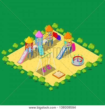Isometric Children Playground with Sweengs, Carousel, Slide and Sandbox. Vector illustration
